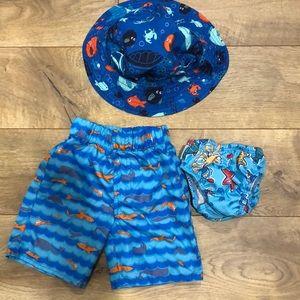 Bundle boys swim shorts beach hat swim diaper